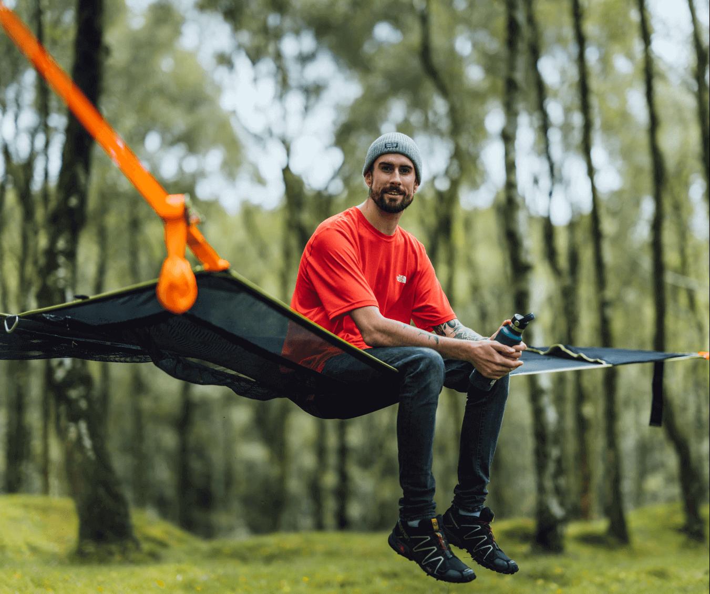 Person sitting on hammock